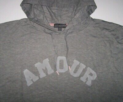 NWT PJ Salvage Heather Gray AMOUR Hi-Low Hoodie Sweatshirt Lounge Top XL SO SOFT