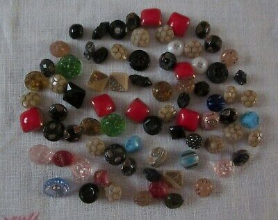 Vintage Antique Lot of 78 Tiny Small Glass Buttons Sewing Crafts Numerous Colors