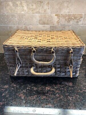 "Woven Picnic Basket With Attached Lid 15""x11""x7"""