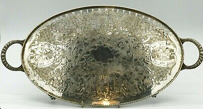 Vintage Viners Silver Plate Plated Claw Footed Drinks Serving Tray Large