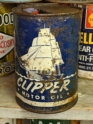 Old Clipper Ship 1 Quart Metal Motor Oil Can Empty w Graphics Marine