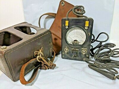 Vintage Bell System Ohm Test Meter With Leather Case and Leads KS-8455 Untested