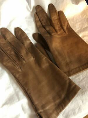 ARIS GLOVES Light Brown LEATHER butter soft size 7 EXCELLENT perfect for Spring