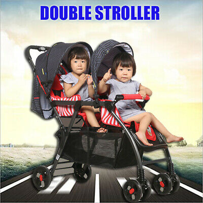 Baby Folding Tandem Pushchair Stroller Double Twin Pram Toddle Buggy Jogger