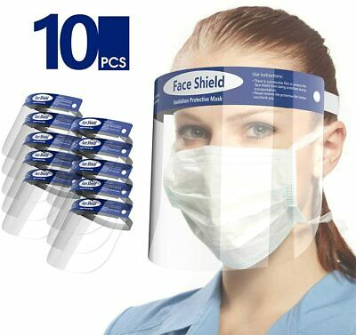 10 PACK Clear Safety Cover Full Face Shield Anti-Fog Dustproof Anti-Splash US
