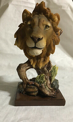 "Lion Head Bust Faux Carved Wood Look Figurine Statue 9.5"" High Resin"