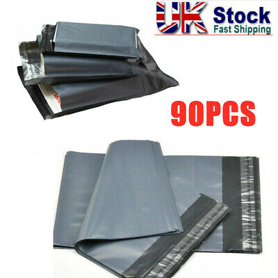 90x Mailing Bags Grey Recycled Strong Poly Postal Postage Mail Self Seal Mixed
