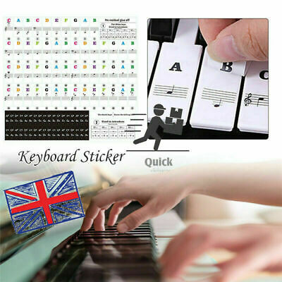 1x Music Keyboard Piano Stickers Removable For 49, 37 ,61or 88-KEY Piano 2 Color