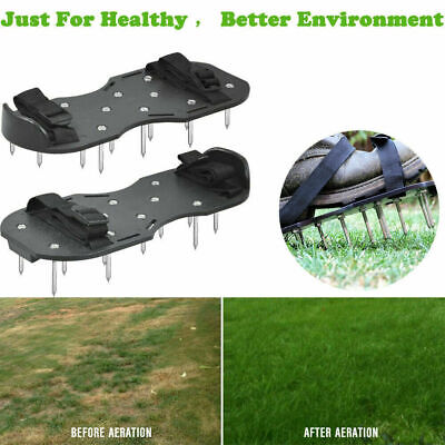 Pair of 29 x 13cm Black Garden Lawn Aerating Shoes Sandals Grass Aerator Shoes
