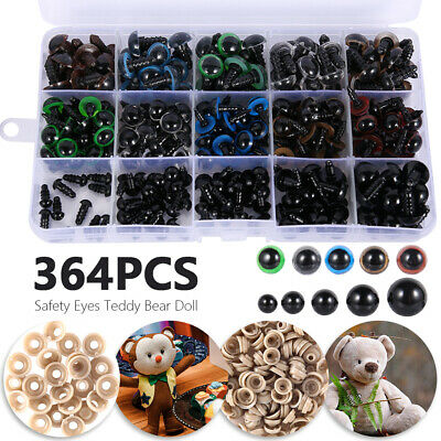 364PCS Mixed Safety Eyes Noses Washer Box For Teddy Bear Making Soft Doll Toys