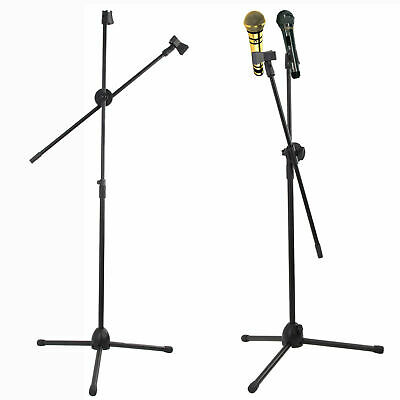 Professional Boom Mic Stand Microphone Holder Adjustable With 2 Free Clips Black