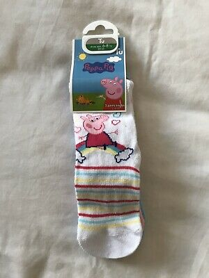 6-8.5 Girls Peppa Pig 3 Pack Socks New