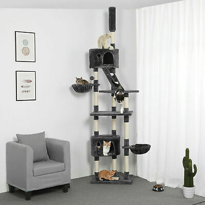255cm Cat Tree Floor to Ceiling High Scratching Post Tower Activity Centre Grey