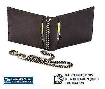 Mens Real Leather Chained Wallet Quality RFID Blocking Purse Credit Card Holder