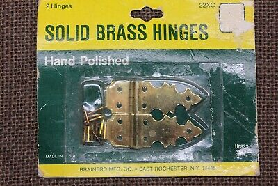 """2 Old jewelry box Hinges vintage SOLID brass hand polished NOS 1 7/8 x 5/8"""""""