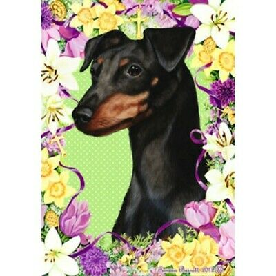 Easter House Flag - Uncropped Black and Tan Miniature Pinscher 33084