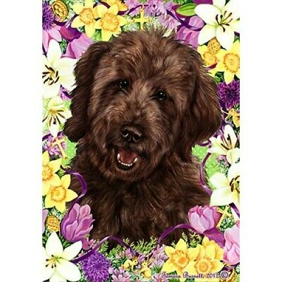 Easter House Flag - Chocolate Goldendoodle  33269