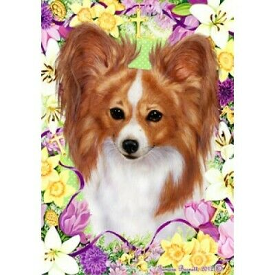 Easter House Flag - Red and White Papillon 33064