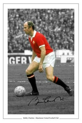Bobby Charlton Manchester United Signed Photo Print Autograph Soccer