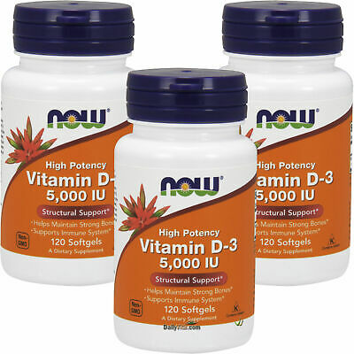 3 x NOW High Potency Vitamin D-3 5000 IU 120 Softgels, Structural Support, FRESH