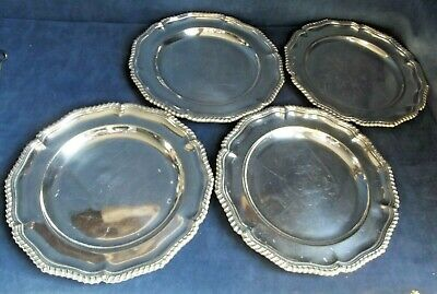 """Set of FOUR 10"""" ~ SILVER Plated ~ Dinner PLATTERS / Plates ~ c1890"""
