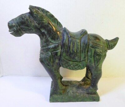 """Vintage CHINESE CARVED STONE HORSE Figurine TANG DYNASTY STYLE 5.5"""" Tall"""