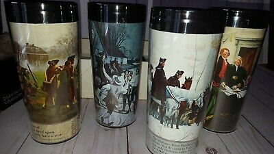 Vintage Set of 4 Thermo-Serv Insulated 12oz Tumblers Freedom Pattern