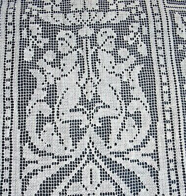 Antique Italian Placemat Set Figural Cupid Filet Lace With Long Table Runner