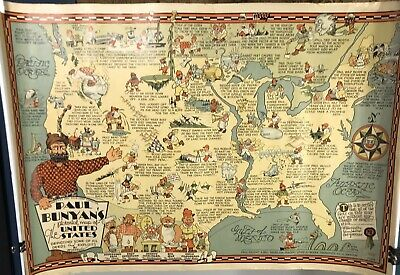 Original Paul Bunyan Map 1935 Published By R.D. Handy Deluth MN Black Americana