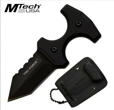 "Tf-Fix013Bk M-Tech 3.8"" Tactical Black Neck Knife W/ G10 Handle + Kydex Sheath"