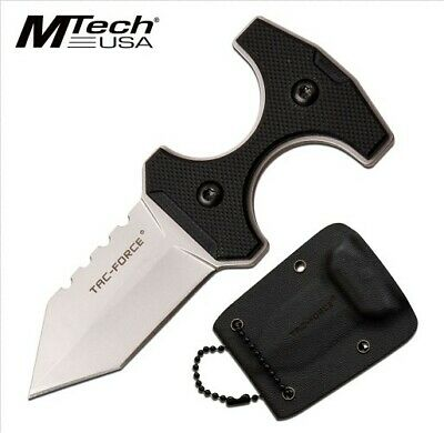 "M-Tech Usa 3.8"" Tactical Silver Full Tang Blade, G10, Kydex Sheath & Ball Chain"