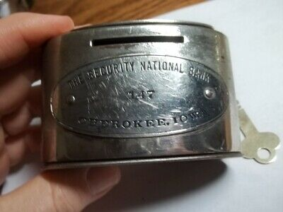 Old Metal The Security National Bank With Key Chrome Still Bank Cherokee Iowa