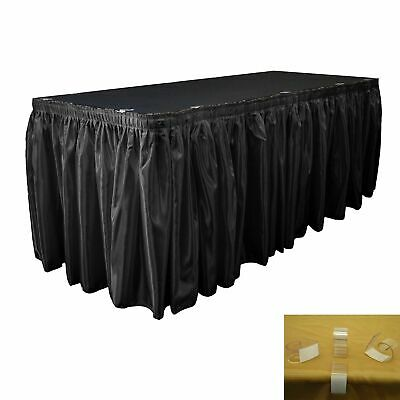 """BANQUET TABLE SKIRT 12 Foot x 28/"""" Tan Plus 8 Clips Hook Loop Touch Fastener DF"""