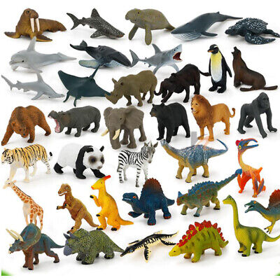12pc Kids Plastic Mini Figures Wild Ocean Farm Animal Dinosaur Model Toys Gifts
