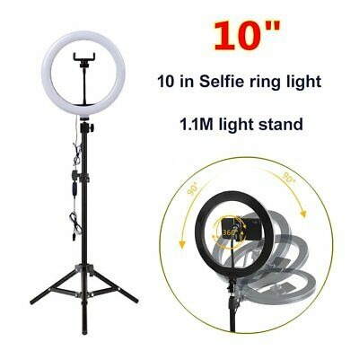 "10"" LED Studio Ring Light Photo Lamp Light +Tripod for Youtube Tiktok Video Live"