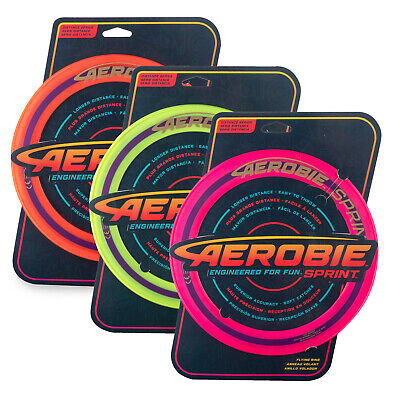 "Aerobie 10"" Sprint Ring Flying Disc Outdoor Frisbee Toy Game Orange/Yellow/Pink"