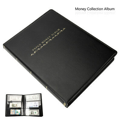 60Pockets Banknote Album Notes Paper Money Stamps Book Soft Leather