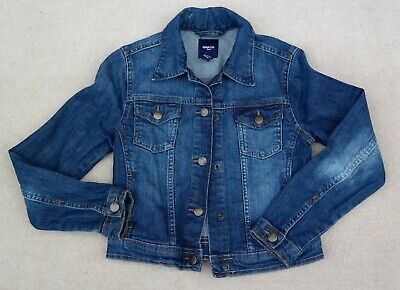 GAP Girls Boys Press Stud Fastening Blue Cotton Blend Denim Jacket Age 8-9 Yrs