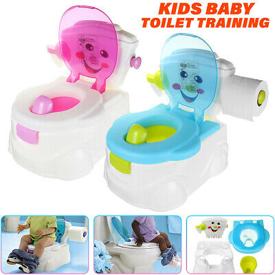 2 In 1 Kid Baby Toilet Trainer Child Toddler Potty Training Seat Chair Boy  /