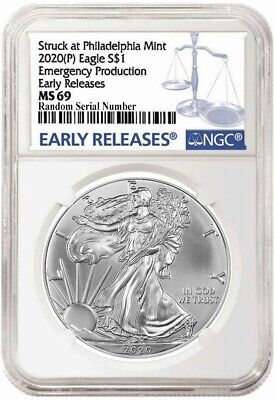2020 (P) $1 Silver American Eagle NGC MS69 Early Releases ER Live Ready to Ship