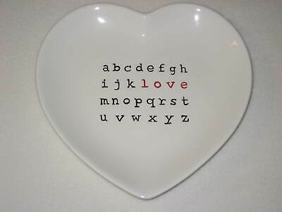Pottery Barn Valentines Heart Crossword LOVE Valentine Plate