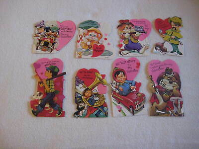 Vintage Valentines Cards 1970s Childrens Classroom Lot of 8 Valentine