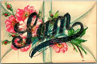 "1910s ""SAM"" Large Letter Greetings Embossed Postcard Pink Flowers GLITTER Unused"