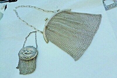 2 Antique Mesh Handbags 1 is Sterling Silver & the other Silvered Metal
