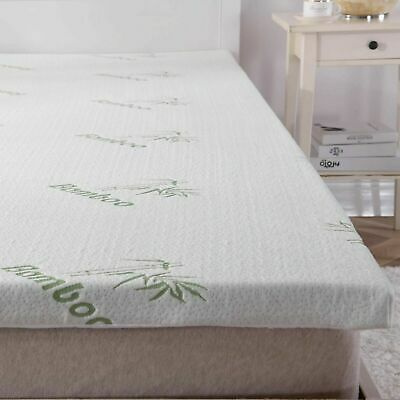 Memory Foam Mattress Topper Bamboo Orthopedic 2.5cm Thick Zipped Cover Double