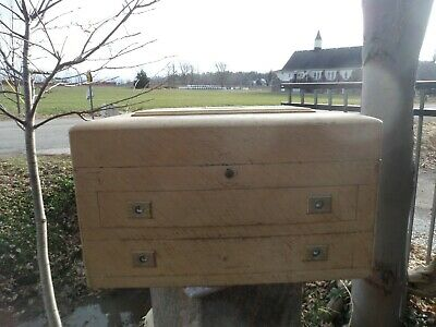 Antique 1912 Hope Silverware Large Wood Chest Drawers Box Renaud & Cie Quebec