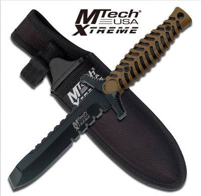 "M-Tech Xtreme Tactical 7.5"" Full Tang Half Serration Blunt Point W/ Nylon Sheath"