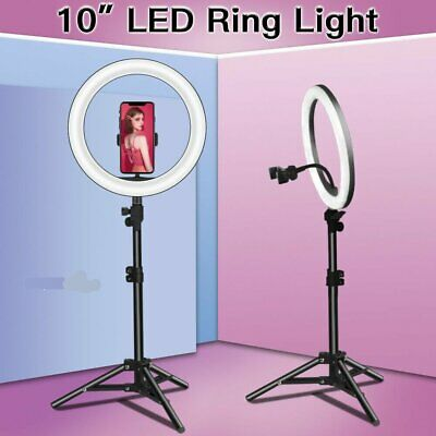 10'' LED Studio Ring Light Photo Video Lamp Tripod Selfie Phone Holder Dimmable