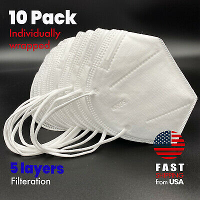 [10 Pack] KN95 Protective Face Mask 5-LAYERS CE Certified Safety Mask Cover