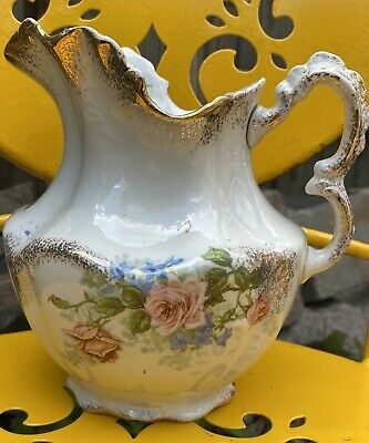 Vintage Harvard Porcelain Pitcher Handpainted Flowers And Gold Gilted
